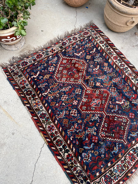 3'2 x 3'11 Antique Persian Shiraz (#1614) / 3x4 vintage rug