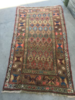 3'6 x 6'4 antique Kurdish rug / small 4x6 rug