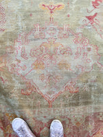9'8 x 13'7 Antique 19th Century Turkish Oushak Rug / 10x14 rug