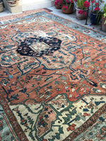 10'6 x 12'6 antique 19th Century Persian Serapi (#875ML)