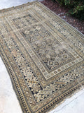 3'11 x 6'4 Antique Caucasian rug / small 4x6 rug