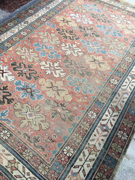 3'10 x 5'5 Antique Caucasian Rug / small antique rug
