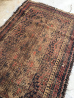 2'4 x 3'11 Antique Baluch Rug / Small Oriental Rug