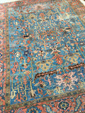 9'8 x 12'2 French blue antique Persian Heriz