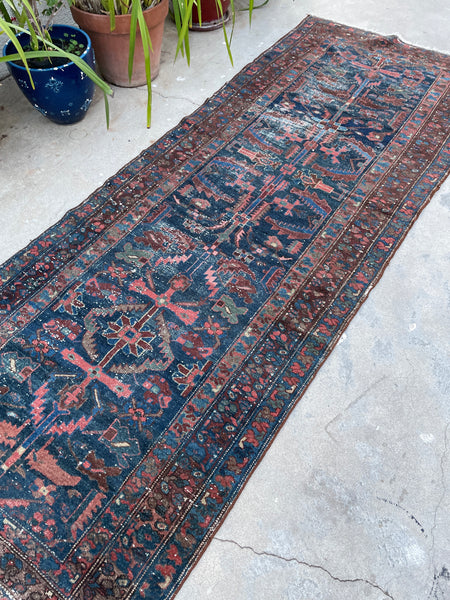 3'8 x 9'6 Antique Persian Kurdish Runner (#1635) / 4x10 Vintage Runner