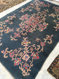 4'10 x 7'8 dark teal Turkish Oushak (#932)