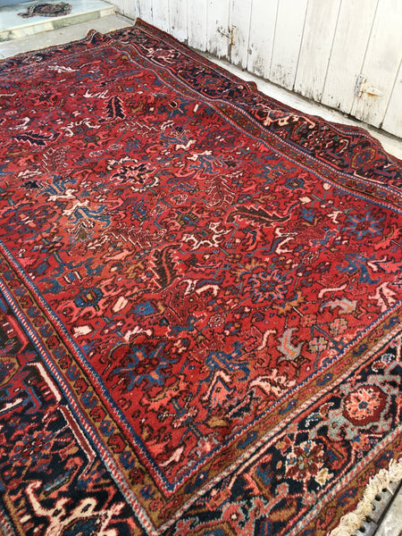 7'11 x 11'3 Persian Heriz Rug / large vintage rug (#549ML)