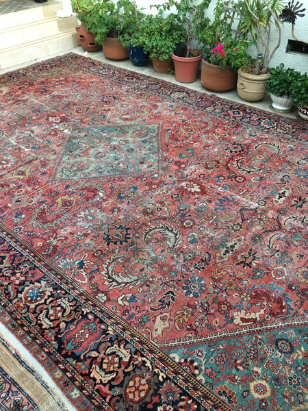 10'3 x 16'3 antique Persian Mahal / large vintage rug