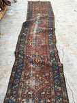 2'8 x 12'3 Worn Antique Persian Heriz Runner (#1490) / skinny vintage runner / Heriz runner