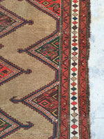 4'2 x 9'3 antique camel hair Persian runner (#835) / 4x9 vintage rug