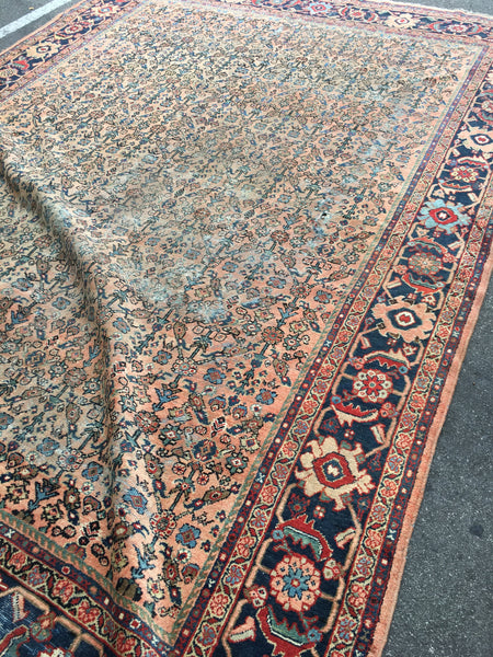 8'7 x 12'2 love worn antique Persian Mahal Rug