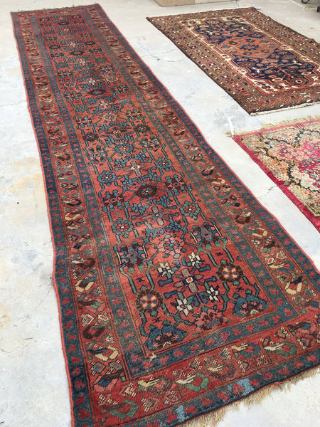 3'5 x 13'4 Antique Runner / Rug Runner / 13 foot Persian runner
