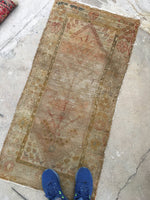 2'1 x 4'3 Antique Turkish Rug Mat / Neutral vintage rug (#619)