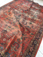 7'9 x 10'9 Love worn antique Persian Mahal Rug (#790)
