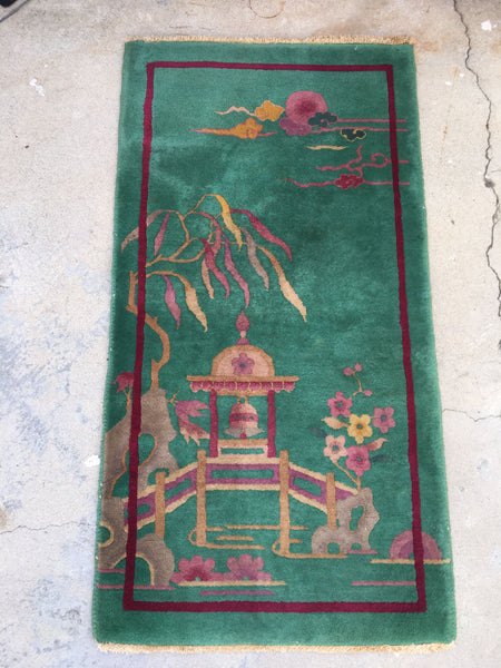 2x4 antique Chinese Art Deco Rug (#793)