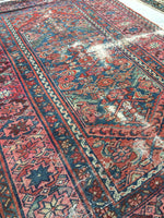 3'4 x 4'7 loveworn antique Hamadan rug (#627)