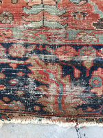 8'1 x 10'8 love worn Antique Serapi Heriz Rug / Large Vintage Rug (#801ML)