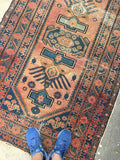 3'10 x 6'4 worn to perfection Antique Love Worn Kurdish Rug