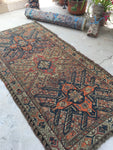 4 x 7'10 antique Cacausus rug with eagle art (#1151)