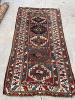 4'1 x 7'4 Antique Caucasian Kazak Runner (#1522ML) / 4x7 vintage runner