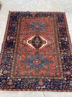 5 x 6'2 Antique Heriz Gharjeh (#1528ML)/ Small Vintage Rug / 5x6 vintage rug