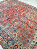 7'10 x 10'9 Worn to Perfection Persian Heriz Rug