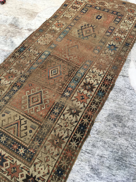 3'5 x 8'1 Antique Kazak Caucasian rug (#814)