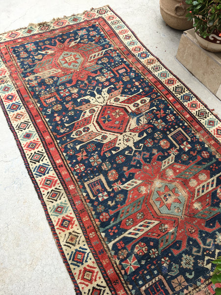 3'4 x 6'9 Antique Caucasian Runner with Eagle Art (#1168)