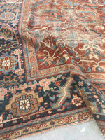 9'2 x 12'6 love worn antique Persian Heriz Rug