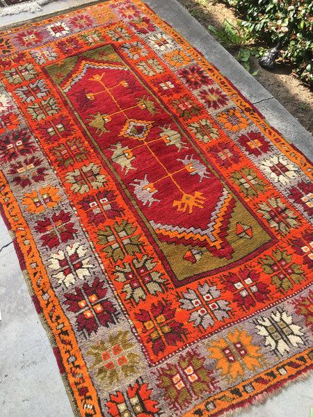 3'11 x 6'11  Antique Anatolian Turkish Rug / 4x7 Turkish Rug