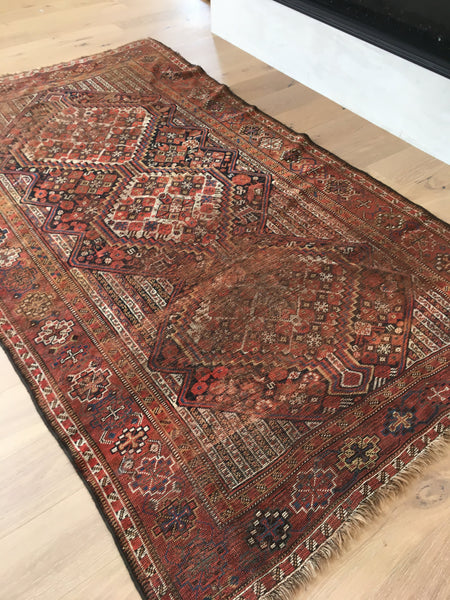 5'2 x 9' antique Qashqai tribal rug (#408)