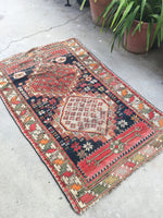 3'3 x 5' antique Caucasian rug / 3x5 worn rug / distressed vintage rug
