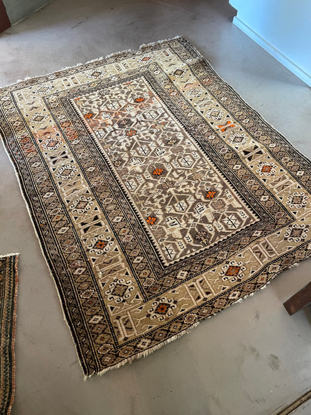 3'10 x 4'10 Antique Caucasian Rug (#1518ML) / 4x5 vintage rug