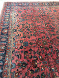 10'5 x 13' antique Persian Lilihan in rose pink (#1017)