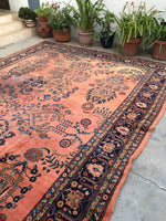 10'5 x 16'1 oversize antique Persian Lilihan rug (#1020)