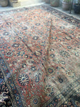 10'8 x 14'1 Persian worn to perfection Tabriz Rug / Large Vintage rug (#1172ML)