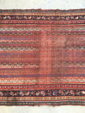 3'7 x 5'5 love worn antique Persian Afshar / 4x6 worn rug (#1024)