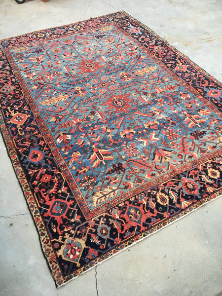 8'1 x 11'4 french blue ground Antique Persian Heriz Rug (#836)