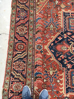 "9' x 11'7"" Antique Heriz Rug"