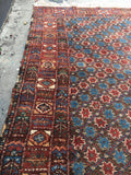 "4'6"" x 5'4"" square antique Afshar rug"