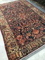 "5'8"" x 8'4"" Antique floral Malayer / Vintage Oriental Rug"