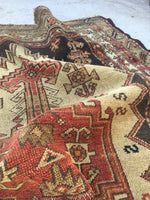 "3'2"" x 4'7"" Kurdish Rug / Small Antique Rug / Oriental Rug"