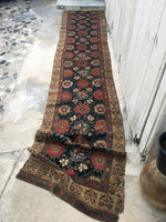 "14' x 2'10"" Antique Oriental Rug / Antique Bakhtiari / 14 foot Runner"