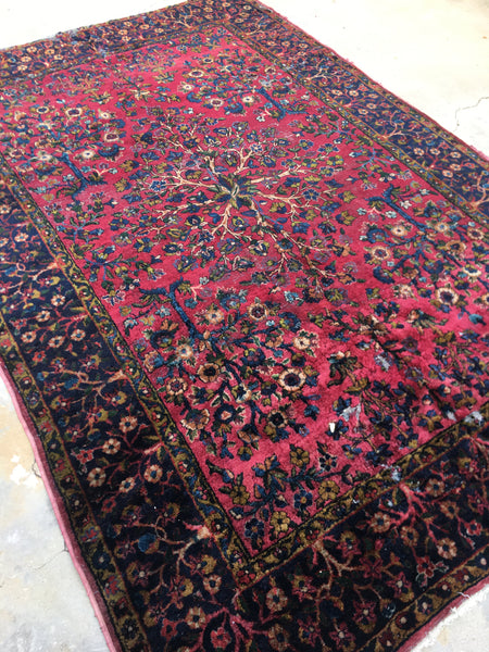 "5'9"" x 8'4"" Antique Kerman Lavar rug / Antique rug / Rasberry rug"