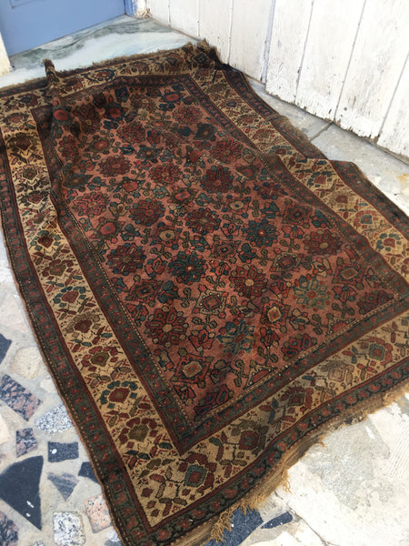 "4'4"" x 6'2"" Antique Rug / Small Rug / Vintage Persian Rug"