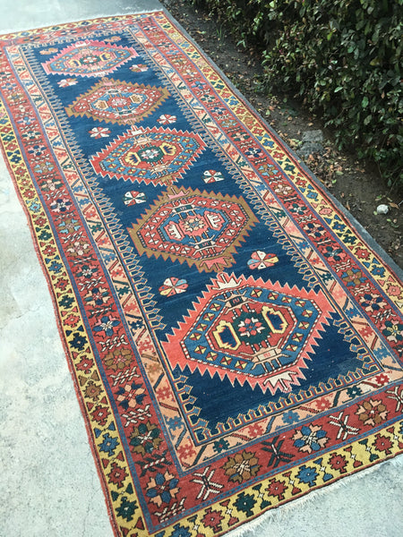 4'2 x 9'2 Antique Caucasian Runner