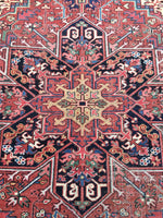"7'2"" x 10'3"" Brick Orange & Muted Sunflower Yellow Antique Heriz / Vintage 7 x 10 Oriental Rug"