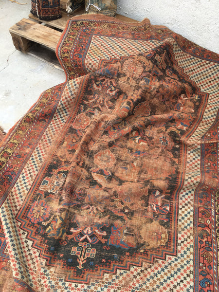 "4' x 5'9"" Antique Shiraz Tribal Rug / 4x6 Vintage Rug / Small Vintage Rug"