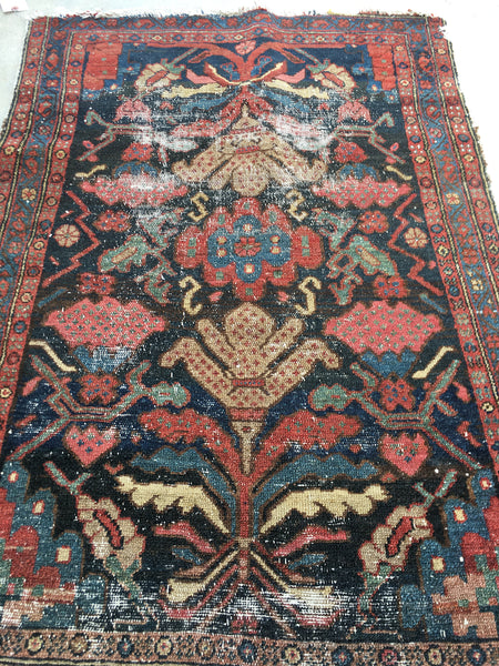 "2'8"" x 3'10"" Antique Rug / Kurdish Rug / Small Vintage Rug"