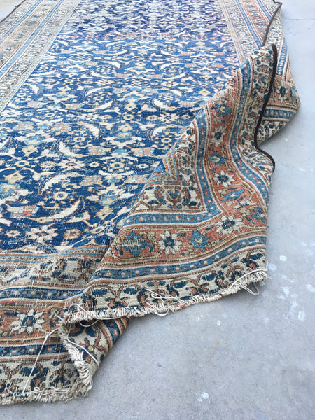 19 x 5'3 Worn Blue n Ivory Antique Rug